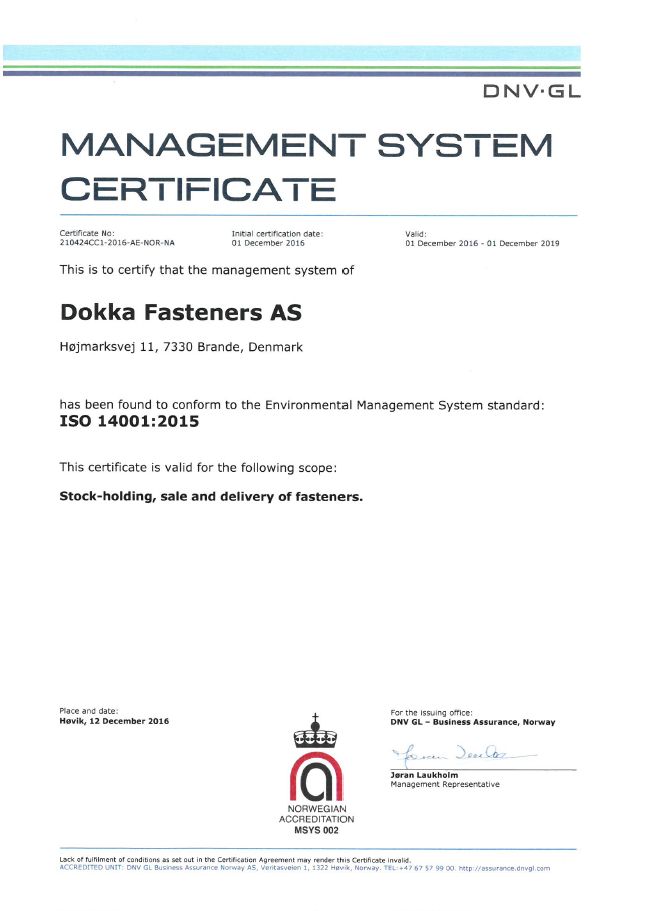 Management System Certificate ISO 14001 2015